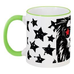 """Кружка с цветной ручкой и ободком """"Звёзды"""" - арт, животные, стиль, лев, звёзды"""