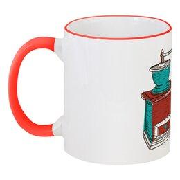 """Кружка с цветной ручкой и ободком """"Доброе утро!"""" - арт, стиль, рисунок, дизайн, кофе"""