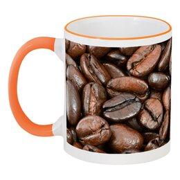 """Кружка с цветной ручкой и ободком """"Кофейная"""" - кофе, праздничный, зерна, арабика, кофейный"""