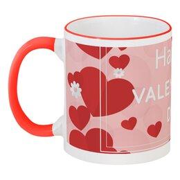 """Кружка с цветной ручкой и ободком """"Сердечки"""" - сердечки, любовь, день святого валентина, день влюбленных, 14 февраля"""