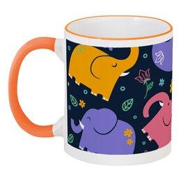 """Кружка с цветной ручкой и ободком """"Слоники"""" - животные, рисунок, детский, стильный, слоны"""
