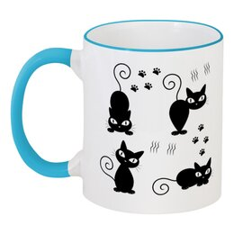 """Кружка с цветной ручкой и ободком """"Котята"""" - кот, кошка, животное, котята"""