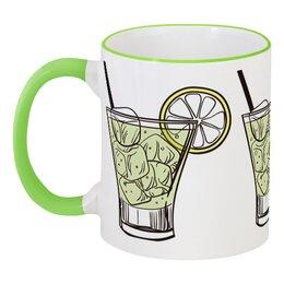 """Кружка с цветной ручкой и ободком """"Коктейльная"""" - лёд, стакан, коктейль, бокал, лимон"""
