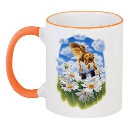 """Кружка с цветной ручкой и ободком """"Пчёлка над ромашками"""" - лето, цветы, ромашка, пчела"""