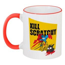 """Кружка с цветной ручкой и ободком """"Щекотка и царапка (Симпсоны)"""" - simpsons, пародия, kill bill, убить билла, bnm"""