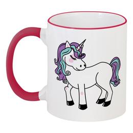 """Кружка с цветной ручкой и ободком """"Единорог"""" - мифы, пони, лошадь, единорог, лошадка"""