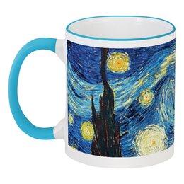 """Кружка с цветной ручкой и ободком """"Ван Гог. Звездная ночь"""" - арт, картина, живопись, ван гог"""