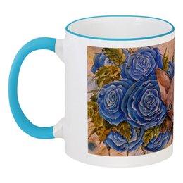 """Кружка с цветной ручкой и ободком """"Сфинкс и синие розы """" - кот, цветы, рисунок, розы, сфинкс"""