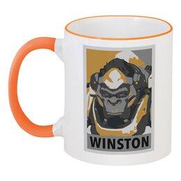 """Кружка с цветной ручкой и ободком """"Уинстон"""" - overwatch, овервотч, winston, уинстон"""