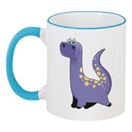 """Кружка с цветной ручкой и ободком """"Забавный  динозавр"""" - динозавр, животное, динозавры, динозаврик"""