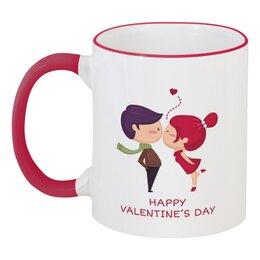 """Кружка с цветной ручкой и ободком """"День влюблённых"""" - любовь, день святого валентина, 14 февраля, пары, день влюблённых"""