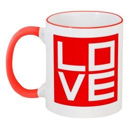 """Кружка с цветной ручкой и ободком """"Love (Любовь)"""" - поп арт, pop atr, любовь, дизайн"""
