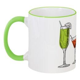 """Кружка с цветной ручкой и ободком """"Барная"""" - мартини, коктейль, бокал, бар, лемон"""