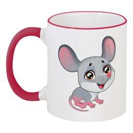 """Кружка с цветной ручкой и ободком """"Мышонок"""" - мышь, мышонок"""