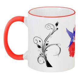 """Кружка с цветной ручкой и ободком """"Кружка с цветной ручкой Колибри и Лилии"""" - подарок, стильно, напитки, колибри, лилии"""