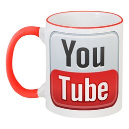 """Кружка с цветной ручкой и ободком """"YouTube"""" - logo, youtube, логотип"""