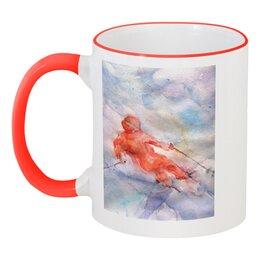 """Кружка с цветной ручкой и ободком """"Экстрим. Горные лыжи."""" - оригинальный, картина акварелью, лыжник, красный, экстремальный спорт"""