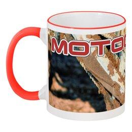 """Кружка с цветной ручкой и ободком """"Motocross"""" - мотоцикл, песок, мотокросс, motocross, эндуро"""