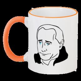 """Кружка с цветной ручкой и ободком """"Putin Cup"""" - мемы"""