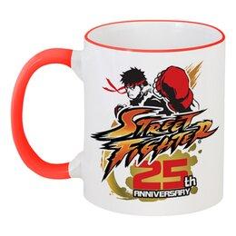 """Кружка с цветной ручкой и ободком """"Street Fighter"""" - игры, геймер, уличный боец, про игры, геймер 24"""