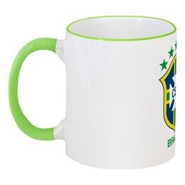 """Кружка с цветной ручкой и ободком """"Бразилия"""" - футбол, арт, в подарок, бразилия, brazil, brasil, football"""