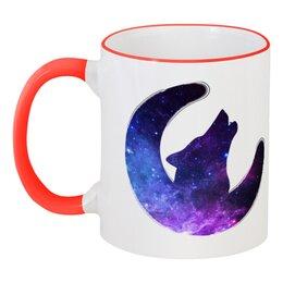 """Кружка с цветной ручкой и ободком """"Space animals"""" - space, космос, луна, wolf, месяц"""