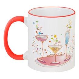 """Кружка с цветной ручкой и ободком """"напитки"""" - еда, купить, с рисунком, напитки, кружку"""