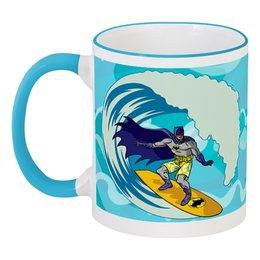 """Кружка с цветной ручкой и ободком """"Бэтмен (Batman)"""" - лето, сёрфинг, волны, море, batman"""