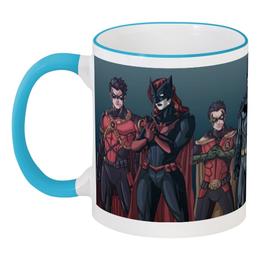 """Кружка с цветной ручкой и ободком """"Batman/Бэтмен"""" - арт, comics, комиксы, batman, бэтмен"""