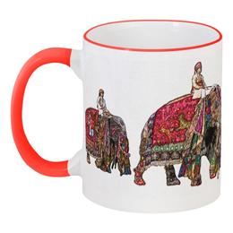"""Кружка с цветной ручкой и ободком """"Индия """"Фестиваль слонов"""""""" - ом, индия, фестиваль слонов, слоны"""