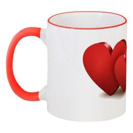 """Кружка с цветной ручкой и ободком """"Валентинка"""" - сердце, цветы, валентинка"""