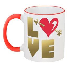 """Кружка с цветной ручкой и ободком """"День Св. Валентина"""" - сердце, валентинка, купидон, день св валентина"""