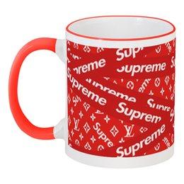 """Кружка с цветной ручкой и ободком """"Supreme"""" - надписи, бренд, brand, supreme, суприм"""