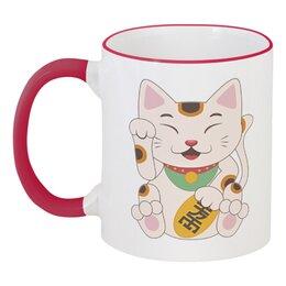 """Кружка с цветной ручкой и ободком """"Кошка"""" - кот, кошка, рисунок, животное"""