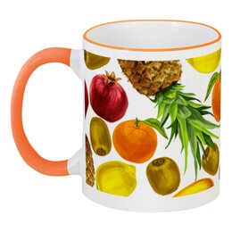 """Кружка с цветной ручкой и ободком """"Фруктовое ассорти"""" - фрукты, апельсин, ананас, гранат, киви"""