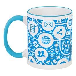 """Кружка с цветной ручкой и ободком """"Интернет"""" - интернет, твиттер, почта, телефон, паутина"""