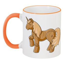 """Кружка с цветной ручкой и ободком """"Единорог"""" - пони, лошадь, единорог, мифы"""