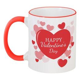 """Кружка с цветной ручкой и ободком """"Сердечки"""" - любовь, 14 февраля, сердечки, день влюбленных"""