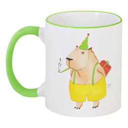 """Кружка с цветной ручкой и ободком """"Праздничная капибара"""" - юмор, сюрприз, капибара, capybara"""