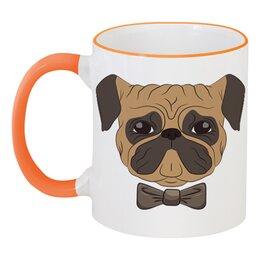"""Кружка с цветной ручкой и ободком """"Собака мопс"""" - собака, бантик, иллюстрация, мопс"""