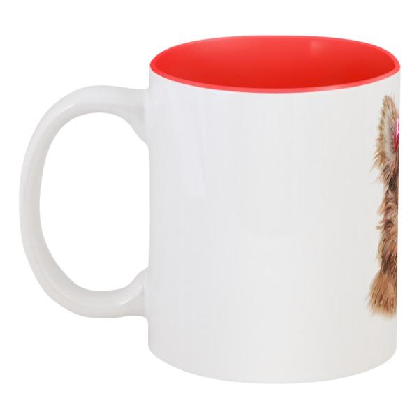 Кружка цветная внутри Printio Собачка с бантиком в каких зоомагазинах можно в луховицах собаку породы чихуахуа