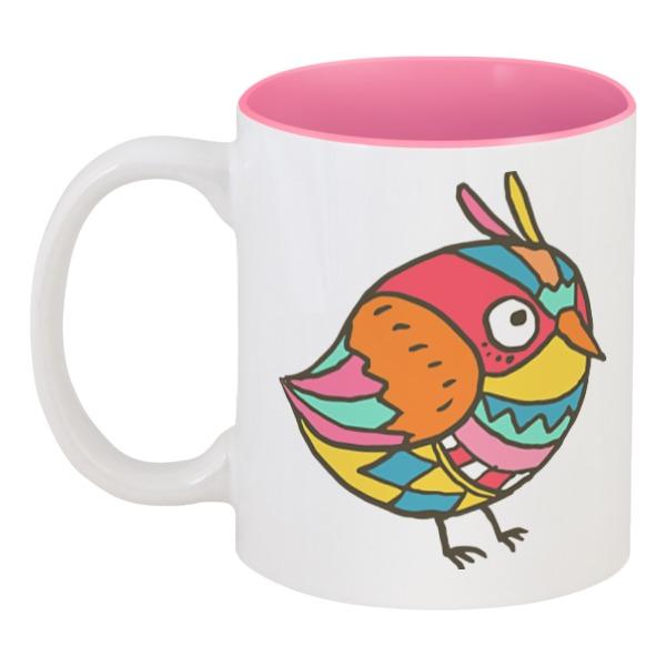 Кружка цветная внутри Printio Этно птичка