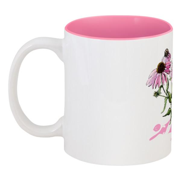 Кружка цветная внутри Printio Розовая эхинацея цена