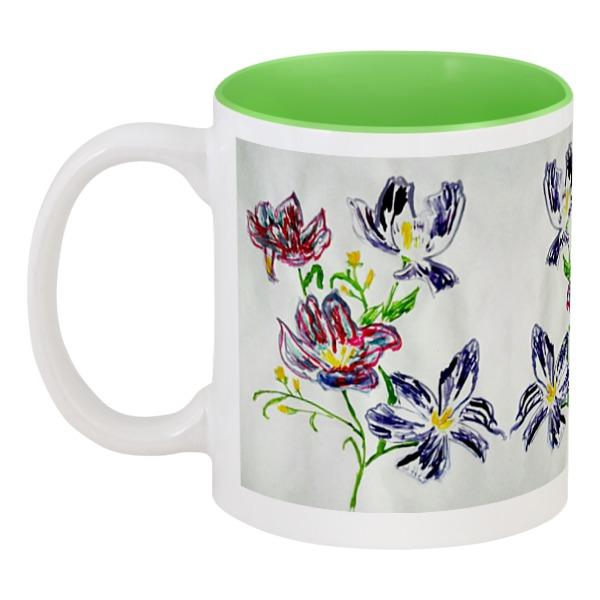 Кружка цветная внутри Printio Лиловые цветы