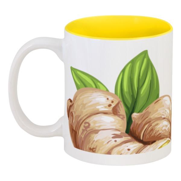Кружка цветная внутри Printio Имбирь и чай