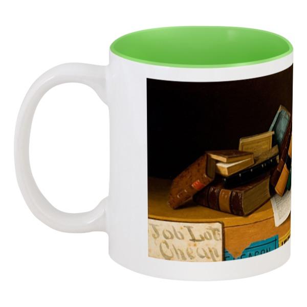 Кружка цветная внутри Printio Книги дешёвого лота (уильям харнетт) уильям уинн уэсткотт книга творения сефер йецира
