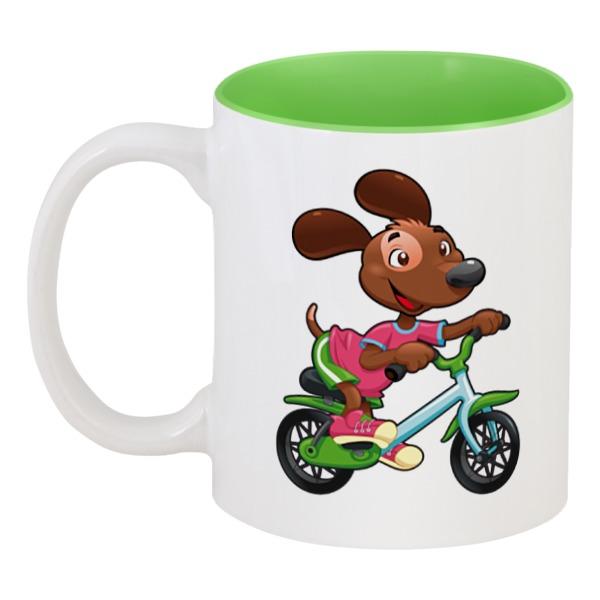 Кружка цветная внутри Printio Собака - велосипедист