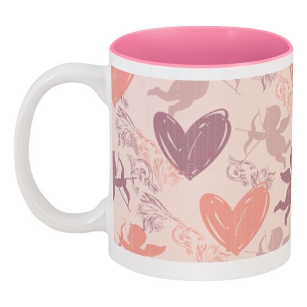 Кружка цветная внутри Printio Купидон и сердечки кружка цветная внутри printio корги и розы