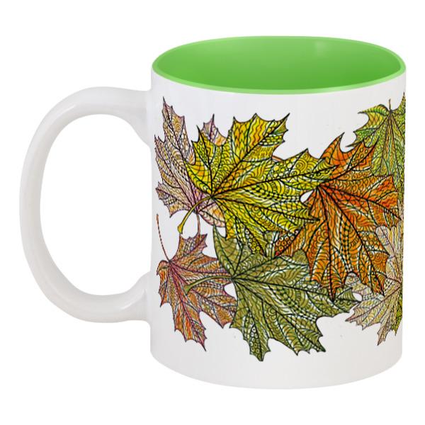 Кружка цветная внутри Printio Кленовые листья мехенди кружка цветная внутри printio листья