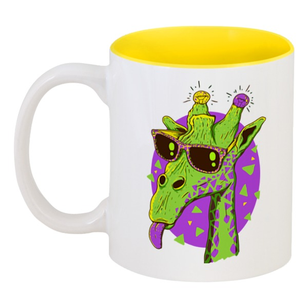 Кружка цветная внутри Printio Забавный жираф кружка цветная внутри printio какаду инка
